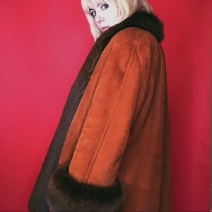 VTG Fox Fur & Suede Swing Coat Penny Lane 60s 70s